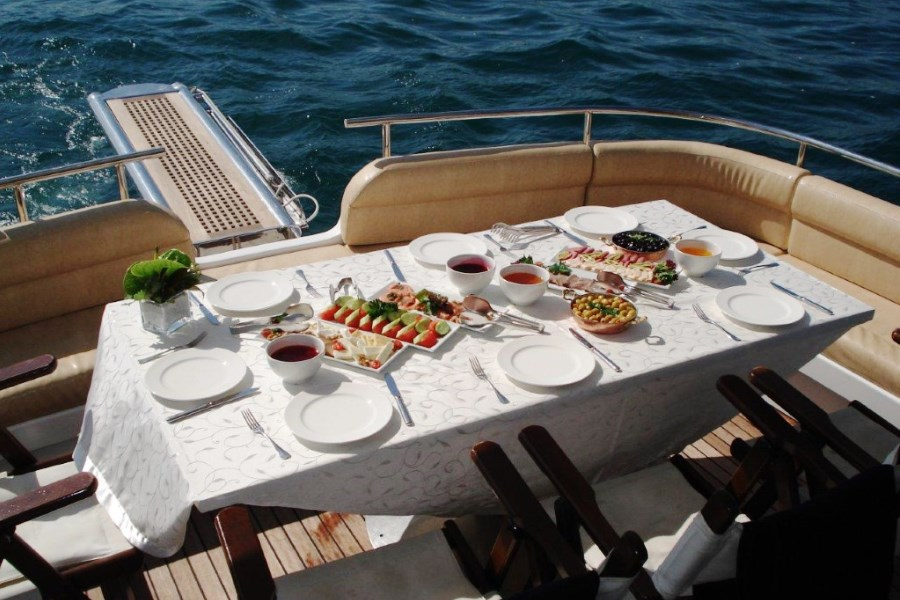 Breakfast on Bosphorus on a Luxury Yacht